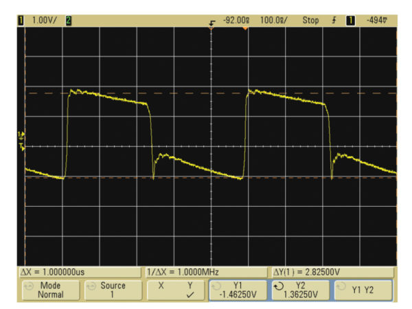 Осциллограмма напряжения на входном конденсаторе