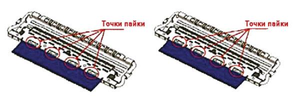 Экранирующие элементы вилки, смонтированные сверху и снизу на шине заземления