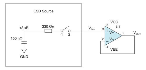 Упрощенная схема испытательного генератора, используемого в соответствие стандарта IEC-61000-4-2, и ее практическое применение