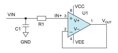 Защита входа с помощью фильтра нижних частот на аналоговом входе