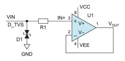 Защита входа аналогового входного каскада с помощью TVS-диода
