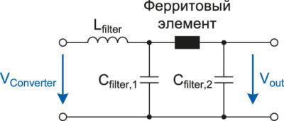Двухкаскадный выходной фильтр для подавления пульсаций и помех DC/DC-преобразователя с добавочным ферритовым элементом